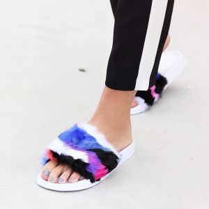 Multicolor Faux Fur Slippers