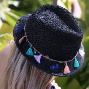 Tassel Straw Hat - Black