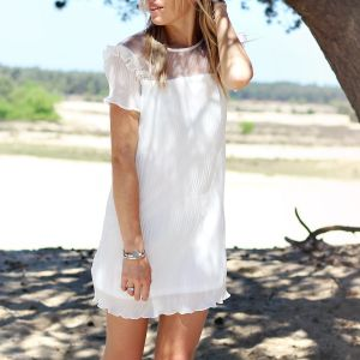 Ruffle Plisse Dress - Creme
