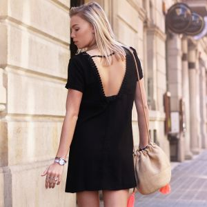 Open Back Dress - Black