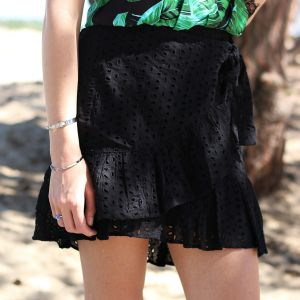 Lace Ruffle Skirt - Black