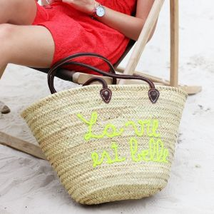Beach Bag La Vie Est Belle - Yellow