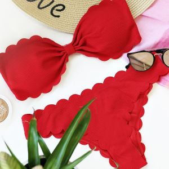 Bandeau Scalloped Bikini - Red
