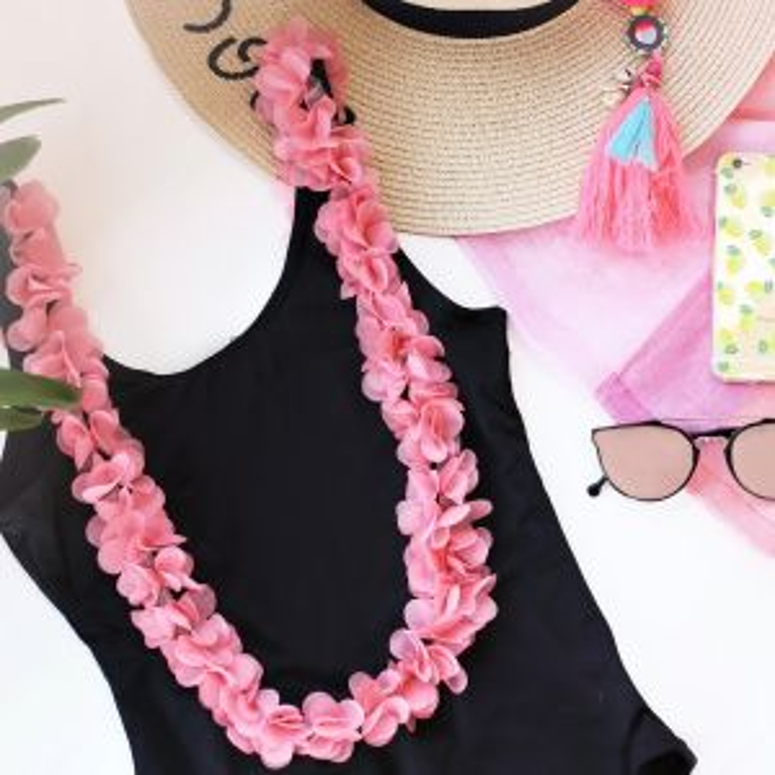 Flower Swimsuit - Black/Pink