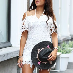 Lace Playsuit - White