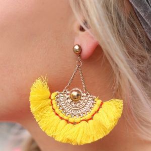 Boho Tassel Earrings Yellow - Gold/Silver