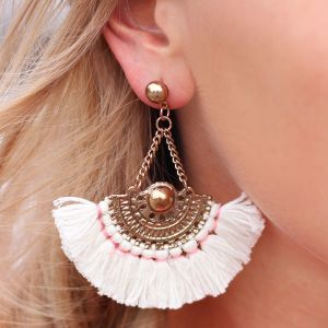 Boho Tassel Earrings Creme - Gold/Silver