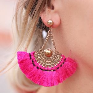 Boho Tassel Earrings Pink