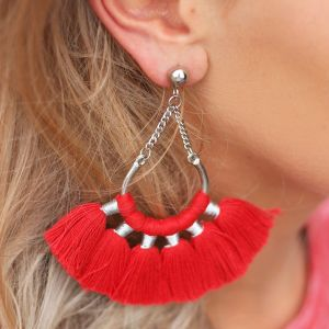 Boho Earrings Red