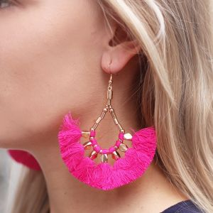 Bead Tassel Earrings Pink - Gold/Silver
