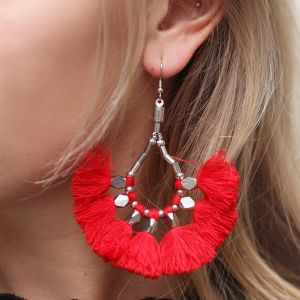 Bead Tassel Earrings Red - Gold/Silver