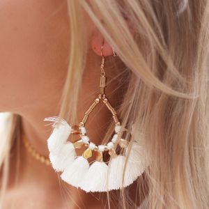 Bead Tassel Earrings Creme