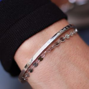 Love You to the Moon & Back Bangle - Silver 3.0