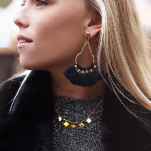 Boho earrings black - gold/silver