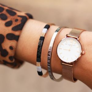 Leather Bangle Black - Silver/Gold/Rose