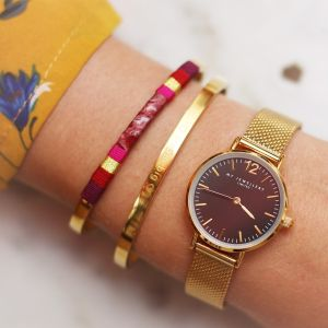 Leather Bangle Red - Silver/Gold/Rose