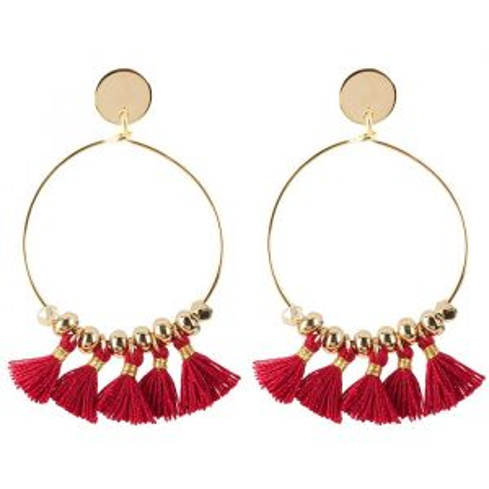 Tassel Hoops Red - Gold/Silver