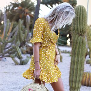Dotted wrap dress - Yellow