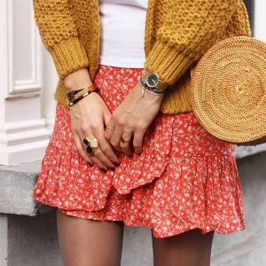 Flower Wrap Skirt - Red
