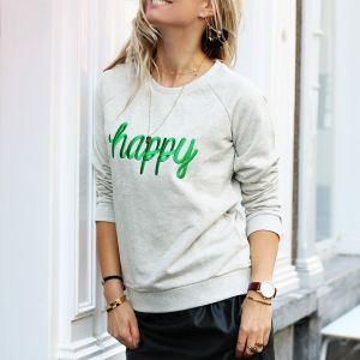 City Sweater Happy - Light Grey/Green
