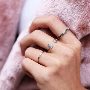 Open Double Dot Ring - Silver