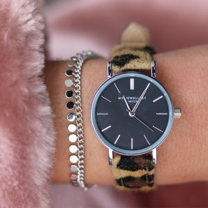 Leopard Watch - Brown/Silver