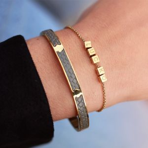 Croco Leather Bangle Grey - Gold/Silver