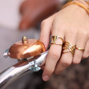 Crossed Lines Ring - Gold