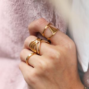Double Triangle Ring - Gold