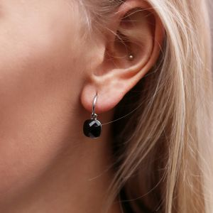 Square Stone Earrings Black