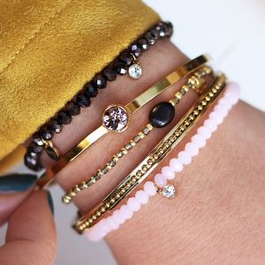 Elastic Beads Bracelet Metallic Black - Gold/Silver