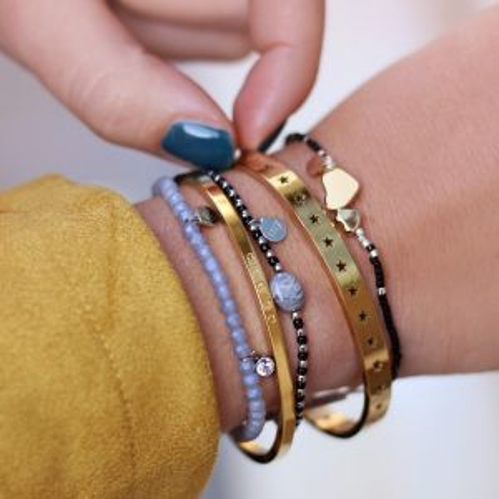 Elastic Beads Bracelet Grey - Gold/Silver