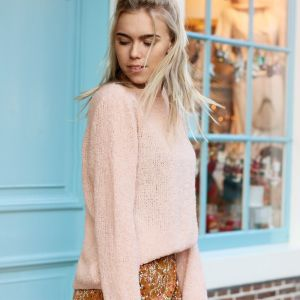 Knitted Furry Sweater - Light Pink