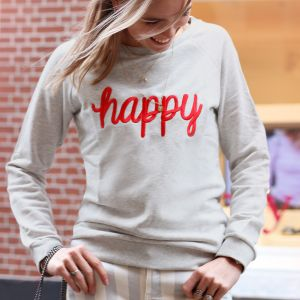 City Sweater Happy - Light Grey/Red