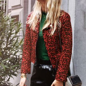 Leopard Biker Jacket 2.0 - Black/Red