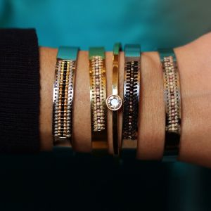 Open Beads Bangle - Gold/Black - Gold/Silver