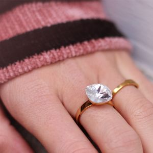 Big Stone Ring - Silver - Gold/Silver