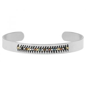 Open Beads Bangle - Black - Zilver