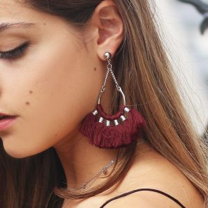 Boho Earrings - Burgundy - Gold/Silver