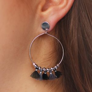 Tassel Hoops Black/Grey - Gold/Silver