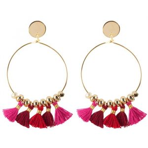 Tassel Hoops Red/Pink - Gold/Silver