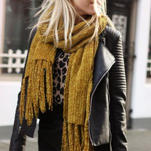 Chenille Scarf - Yellow