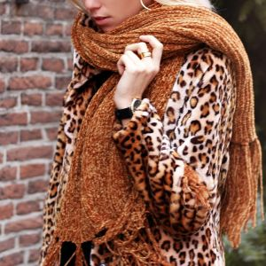 Chenille Scarf - Rust Brown
