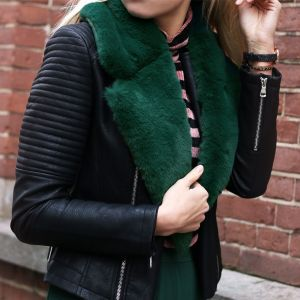 Faux Fur Stole - Green