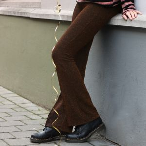Glitter Flared Pants - Bronze/Black