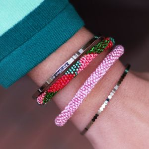 Little Beads Bracelet - Green/Pink