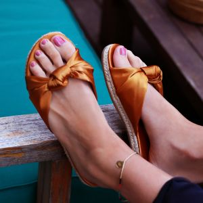 Satin Knot Flip Flops - Orange