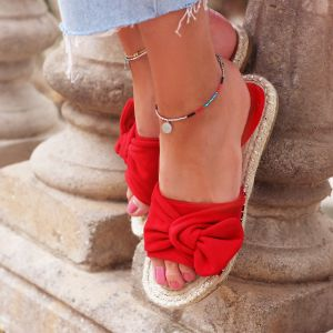 Suedine Bow Flip Flops - Red