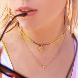 Beads & Coin Choker - Star - Gold/Silver