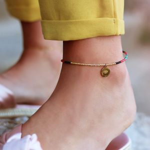 Beads & Coin Anklet - Eye - Gold/Silver